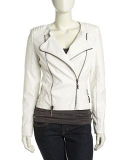 Quilted Vegan Leather Moto Jacket, White