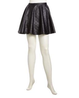 Quilted Faux Leather Swing Skirt, Black