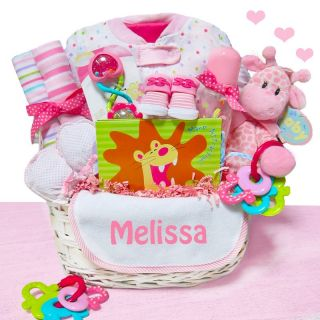 Cashmere Bunny Personalized Little Safari Girl Baby Gift Basket Multicolor