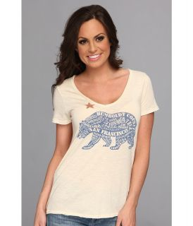 Lucky Brand California Bear Tee Womens Short Sleeve Pullover (White)