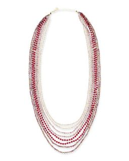 8 Strand Ombre Bead Necklace, Pink/Red
