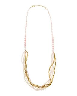 Multi Strand Beaded Necklace, Pink/Gold