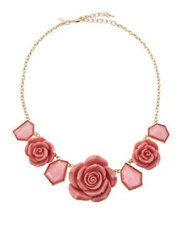 Rose and Geo Station Necklace, Pink