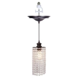 Worth Home Products Instant Pendant Light with Clear Glass Shade   Brushed