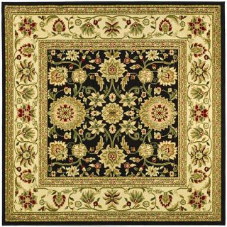 Lyndhurst Collection Majestic Black/ Ivory Rug (6 Square)