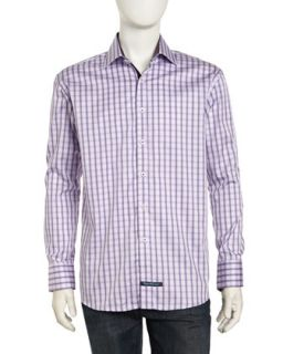Long Sleeve Button Front Plaid Poplin Dress Shirt, Lilac