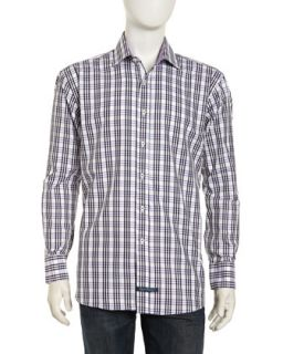Long Sleeve Plaid Button Front Poplin Dress Shirt, Lavender
