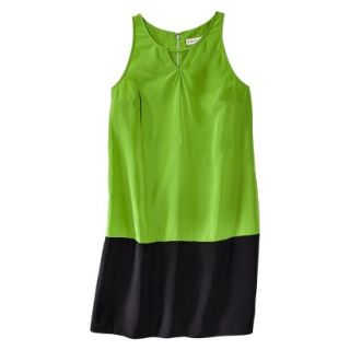 Merona Womens Colorblock Hem Shift Dress   Zuna Green/Black   M