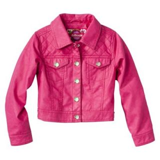 Dollhouse Girls Faux Leather Quilted Jacket   Pink 14