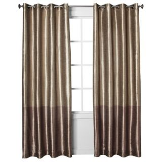 Threshold Banded Faux Silk Window Panel   Brown (54x84)