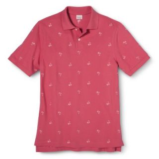 Mens Classic Fit Print Polo Shirt SS Pink XL