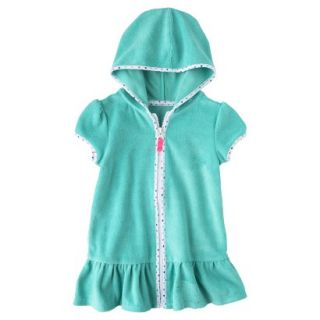 Circo Infant Toddler Girls Hooded Cover Up Dress   Turquoise 4T