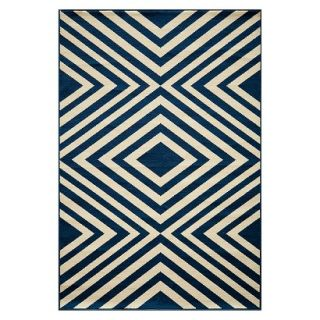 Indoor/Outdoor Geometric Area Rug   Navy (5x8)
