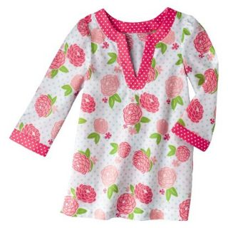 Circo Infant Toddler Girls Long Sleeve Floral Cover Up   White/Coral 4T