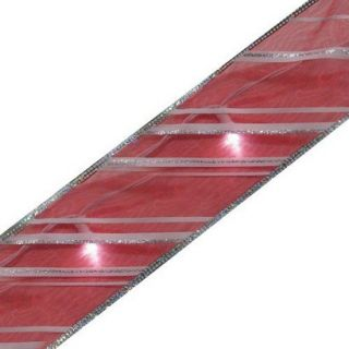 LED Battery Operated Lighted Ribbon Candy Stripe   White/Red