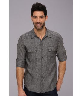 Lucky Brand Evans Linen Western Shirt Mens Long Sleeve Button Up (Black)