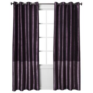 Threshold Banded Faux Silk Window Panel   Wine (54x84)