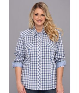 Roper Plus Size 9002 Ombre Check Long Sleeve Shirt Womens Long Sleeve Button Up (Purple)