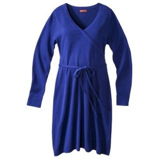 Merona Maternity Long Sleeve V Neck Sweater Dress   Blue XL