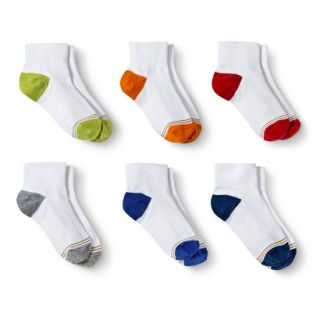 Signature GOLD by GoldToe Boys 6 Pack Color Block Heel Ankle Socks   White L