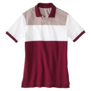 Mens Classic Fit Colorblock Polo Shirt Radish Maroon Red White Grey stripe S