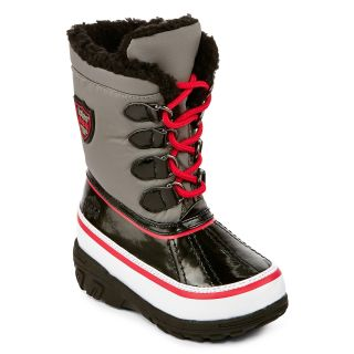 Totes Joey Toddler Boys Faux Fur Lined Boots, Red/Grey, Red/Grey, Boys