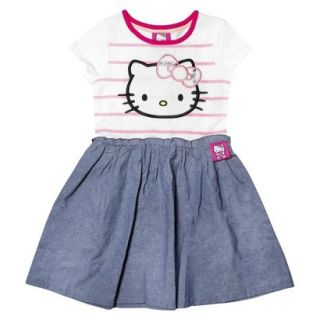 Hello Kitty Infant Toddler Girls Short Sleeve Tunic Dress   White/Chambray 3T
