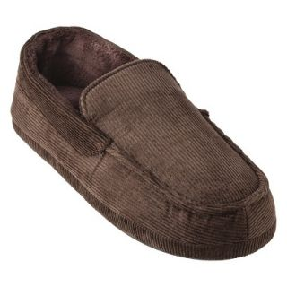 Totes Elements Mens Corduroy Moccasin Slippers   Brown L