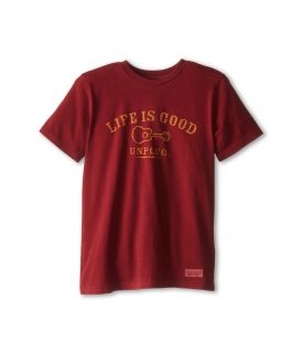 Life is good Kids Crusher Unplug Tee Boys T Shirt (Red)