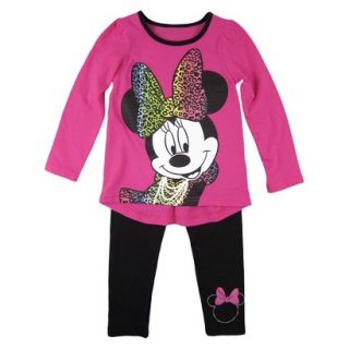 Disney Infant Toddler Girls Minnie Mouse Top and Bottom Set   Fuchsia 4T