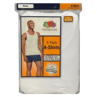 Fruit of the Loom Mens A Shirts 5 Pack   White S