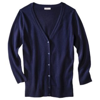 Merona Petites Long Sleeve Crew Neck Cardigan Sweater   Navy MP