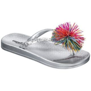 Girls Koosh Flip Flop Sandals   Silver 12 13