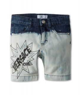 Versace Kids Bleached Denim Jean Shorts Boys Shorts (Blue)
