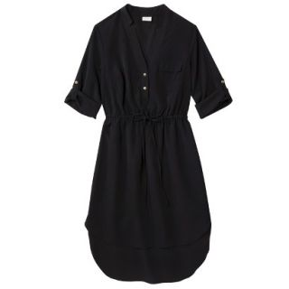 Merona Womens Drawstring Shirt Dress   Black   L