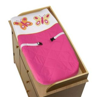 Pink and Orange Butterfly Changing Pad Cover