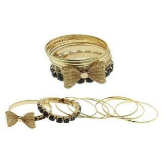 Womens Eight Piece Bangle Set with Stones, Print and Bow   Gold