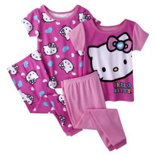 Hello Kitty Toddler Girls 4 Piece Short Sleeve Pajama Set   Pink 3T