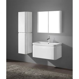 Madeli Euro 36 Bathroom Vanity with Integrated Basin   Glossy White