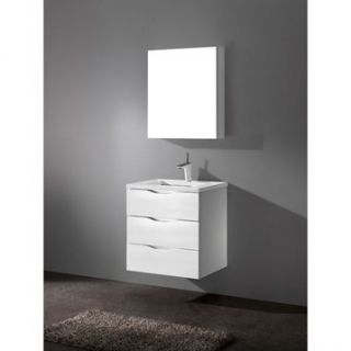 Madeli Bolano 24 Bathroom Vanity with Quartzstone Top   Glossy White