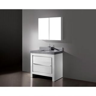 Madeli Vicenza 36 Bathroom Vanity with Quartzstone Top   Glossy White