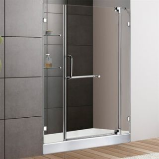 VIGO 48 inch Frameless Shower Door 3/8 Clear Glass Chrome Hardware with White B