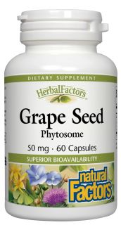 Natural Factors   Grape Seed Phytosome Enhanced Absorption 50 mg.   60 Capsules