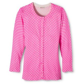 Merona Womens Ultimate 3/4 Sleeve Crew Neck Cardigan   Pink Print   M