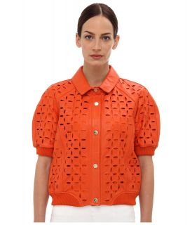 Versace Jeans Eyelet Cropped Leather Jacket Womens Jacket (Orange)