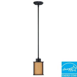 Glomar Odeon 1 Light Hanging Aged Bronze Mini Pendant Light HD 3828