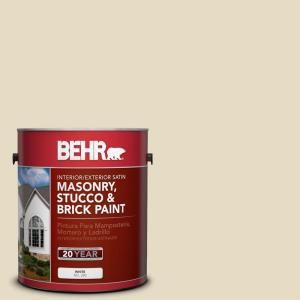 BEHR Premium 1 gal. #MS 40 Navajo White Satin Interior/Exterior Masonry, Stucco and Brick Paint 28001