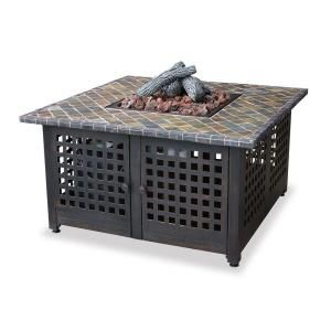 UniFlame Slate and Marble Tile Propane Gas Fire Pit GAD860SP