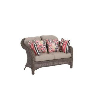 Hampton Bay Walnut Creek Patio Loveseat with Wheat Cushion DISCONTINUED FRS62265L Wheat
