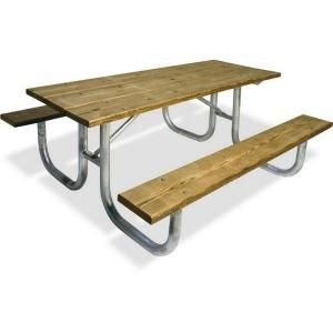 Ultra Play 8 ft. Pressure Treated Wood Commercial Park Extra Heavy Duty Portable Table G238 PT8